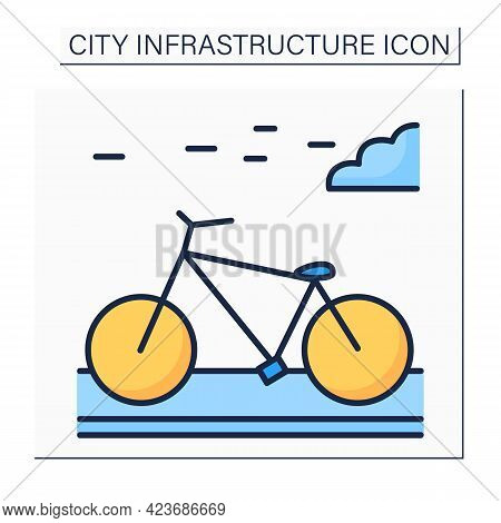 Bicycle Color Icon. Bikeway With Lanes On Road For Cyclists Only. Outdoor Bicycle Movement. Outline