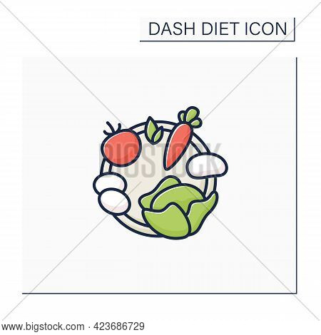 Healthy Ingredients Color Icon. Healthy Nutrition Like Carrot, Eggs, Potato, Tomato, Cabbage, Parsle