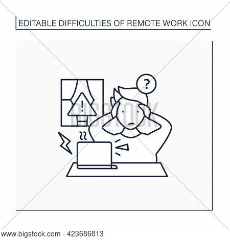 Remote Work Line Icon. Technical, Equipment Issues.work Instrument Broken. Career Difficulties Conce