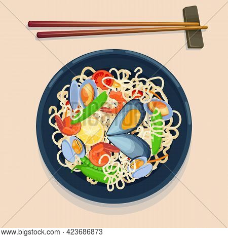 Top View Of A Plate Of Noodles With Seafood - Shrimps And Mussels. Asian Food. Vector Illustration