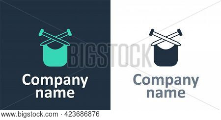 Logotype Knitting Icon Isolated On White Background. Wool Emblem With Knitted Fabric And Needle. Lab