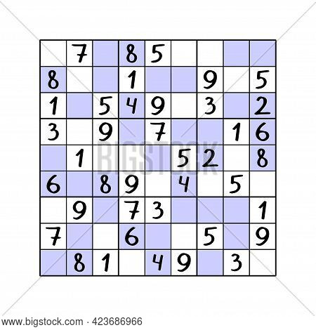 Even-odd Sudoku Game Vector Illustration. Complete Puzzle - Fill White Cells By 1,3,5,7,9 Numbers An