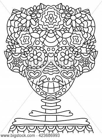 Happy Dia De Muertos Woman Skeleton With Flower Wreath Coloring Page Vector Illustration. Decorative