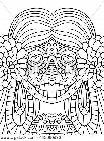 Hand-drawn Skeleton Girl Coloring Page Vector Illustration. Dia De Muertos Funny Ornamental Skeleton