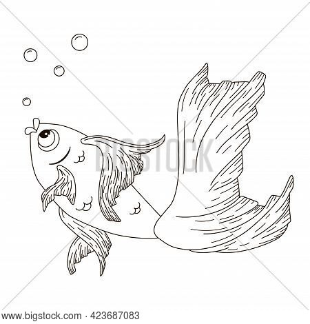 Line Art Gold Fish Engraving Illustration. Hand Drawn Goldfish For Coloring Book. Vector Cartoon Ink