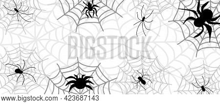 Spider And Cobweb. The Scary Of The Halloween Symbol Isolated On White Background. Can Be Used For G