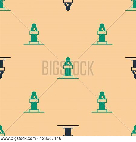 Green And Black Speaker Icon Isolated Seamless Pattern On Beige Background. Orator Speaking From Tri