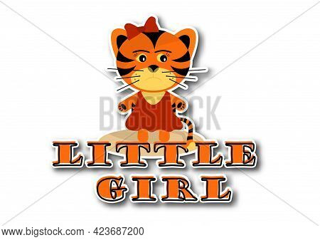 Sticker Little Tiger Girl On White Background. Symbol Of 2022 Year. Cheerful Kind Animal Child. Cart