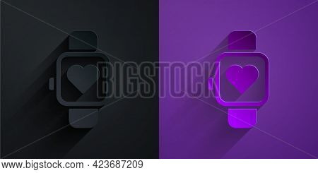 Paper Cut Smart Watch Showing Heart Beat Rate Icon Isolated On Black On Purple Background. Fitness A