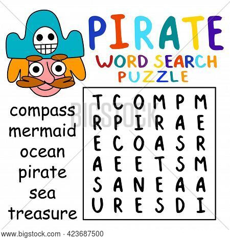Pirate-themed Word Search Puzzle For Kids Vector Illustration. Help Cartoon Pirate To Find Six Hidde