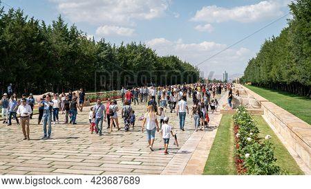 Ankara, Turkey - August 2019: People Visiting Anitkabir Mausoleum Of Turkish Leader Ataturk In His G