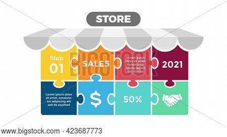 Puzzle Store Infographic Presentation. Eight Options Banner Chart. Shop Advertising Banner. E-commer