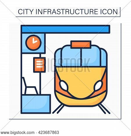 Railway Station Color Icon.place Or Building For Arrival And Departure Of Trains. Platforms With Pas