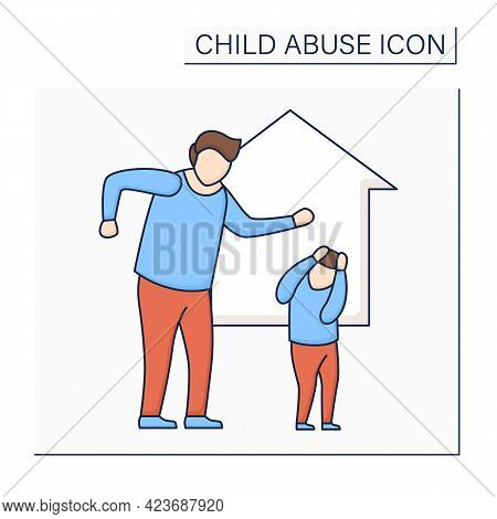 Domestic Violence Color Icon. Aggressive Actions Against Child. Intimidation, Beatings. Hypercontrol