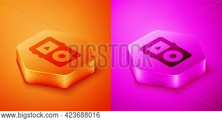 Isometric Music Player Icon Isolated On Orange And Pink Background. Portable Music Device. Hexagon B