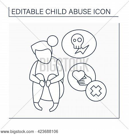 Stress Line Icon. Support Lack. Time-intensive Parenting, Stressful Job.burnout. Child Abuse Concept