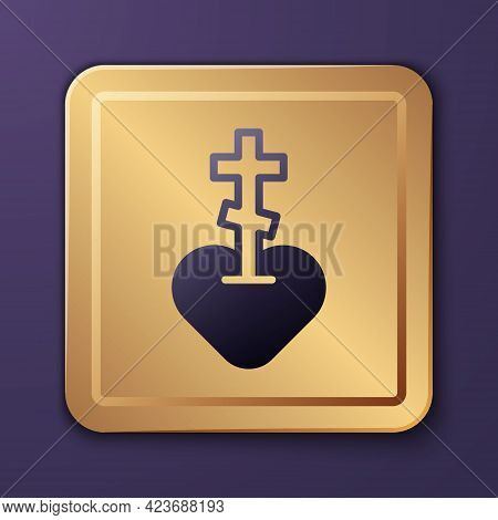 Purple Religious Cross In The Heart Inside Icon Isolated On Purple Background. Love Of God, Catholic