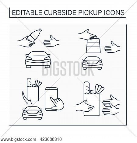 Curbside Pickup Line Icons Set. Courier Delivery. Hand By Hand Parcel And Cargo Pickup. Shopping Con
