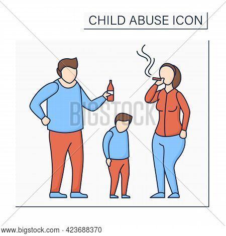 Parental Substance Use Color Icon. Alcohol And Drug Abuse Against Kid. Unable To Care. Bad Influence