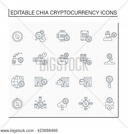 Chia Cryptocurrency Line Icons Set. Computer Hard Disk. Blockchain-based Platform For Developing And