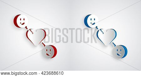 Paper Cut Romantic Relationship Icon Isolated On Grey Background. Romantic Relationship Or Pleasant