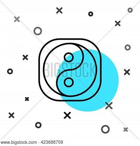 Black Line Yin Yang Symbol Of Harmony And Balance Icon Isolated On White Background. Random Dynamic