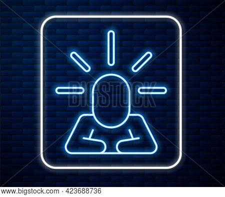 Glowing Neon Line Depression And Frustration Icon Isolated On Brick Wall Background. Man In Depressi