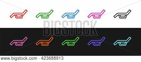 Set Line Sunbed Icon Isolated On Black And White Background. Sun Lounger. Vector