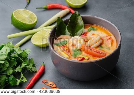 National Dish Of Laos And Thailand - And Sour Soup With Shrimp Tom Yum.