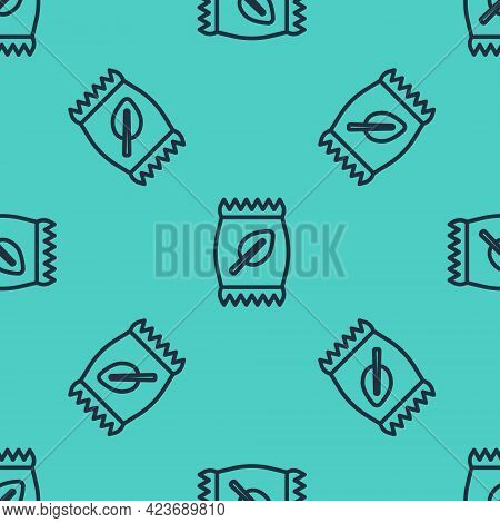 Black Line Fertilizer Bag Icon Isolated Seamless Pattern On Green Background. Vector