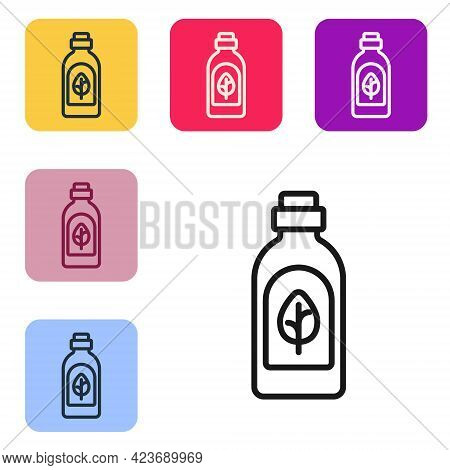 Black Line Essential Oil Bottle Icon Isolated Black Line Background. Organic Aromatherapy Essence. S