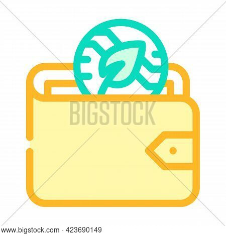 Wallet Accessory Chia Cryptocurrency Color Icon Vector. Wallet Accessory Chia Cryptocurrency Sign. I