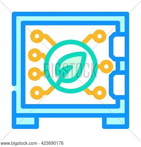 Safe Electronic For Protect Chia Cryptocurrency Color Icon Vector. Safe Electronic For Protect Chia
