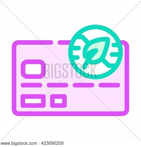 Bank Plastic Card With Chia Cryptocurrency Color Icon Vector. Bank Plastic Card With Chia Cryptocurr