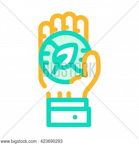 Hand Holding Chia Cryptocurrency Coin Color Icon Vector. Hand Holding Chia Cryptocurrency Coin Sign.