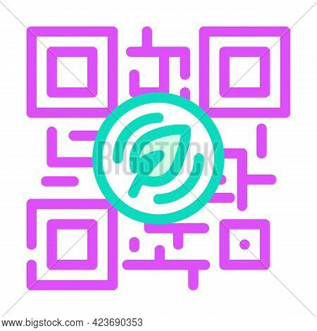 Qr Code For Payment By Chia Cryptocurrency Color Icon Vector. Qr Code For Payment By Chia Cryptocurr