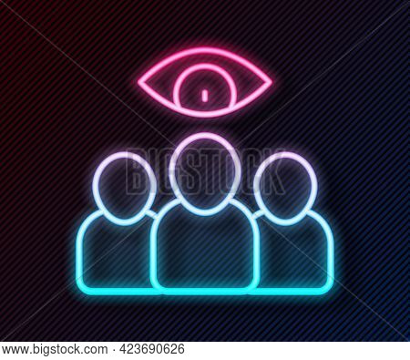 Glowing Neon Line Spy, Agent Icon Isolated On Black Background. Spying On People. Vector