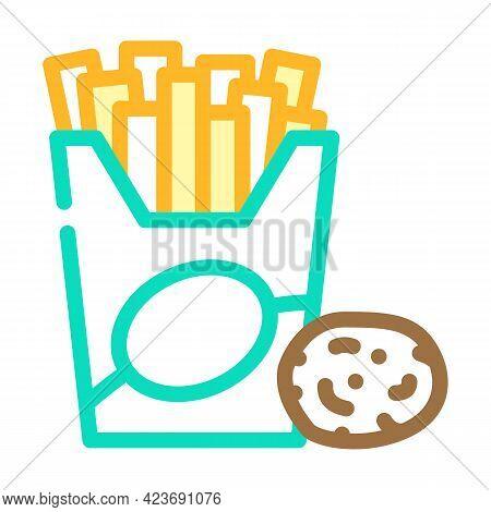 Fried Potato Gluten Free Color Icon Vector. Fried Potato Gluten Free Sign. Isolated Symbol Illustrat
