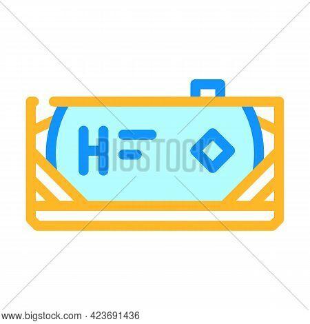 Transport Tank Hydrogen Color Icon Vector. Transport Tank Hydrogen Sign. Isolated Symbol Illustratio