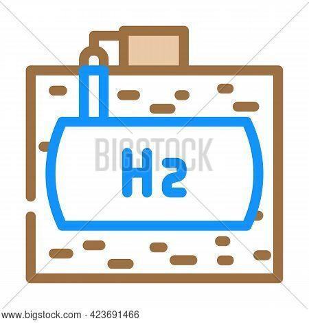 Underground Storage Hydrogen Color Icon Vector. Underground Storage Hydrogen Sign. Isolated Symbol I