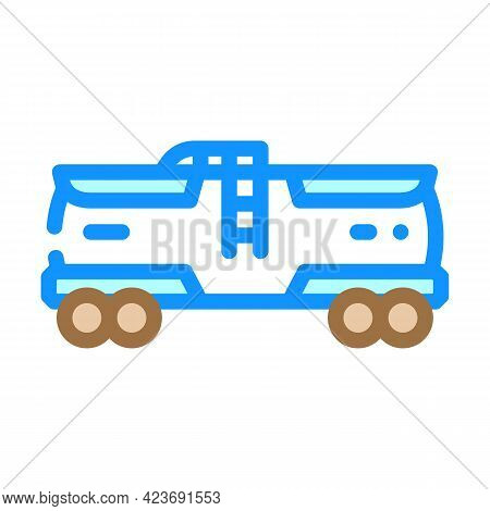 Railway Tank Hydrogen Transportation Color Icon Vector. Railway Tank Hydrogen Transportation Sign. I
