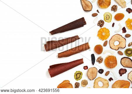 Above View Of Tasty Lozenge With Fruits And Berries At Table And Dried Fruits Kiwi, Orange, Apple, A
