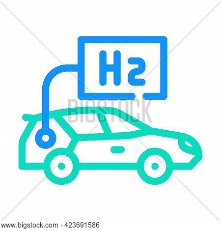 Car Hydrogen Transport Color Icon Vector. Car Hydrogen Transport Sign. Isolated Symbol Illustration