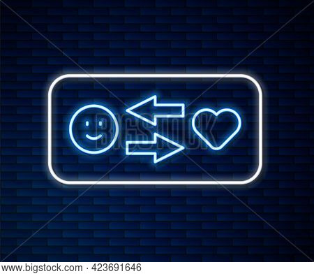 Glowing Neon Line Romantic Relationship Icon Isolated On Brick Wall Background. Romantic Relationshi
