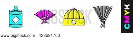 Set Firework, Paper Chinese Folding Fan, Chinese Hat And Paper Chinese Folding Fan Icon. Vector