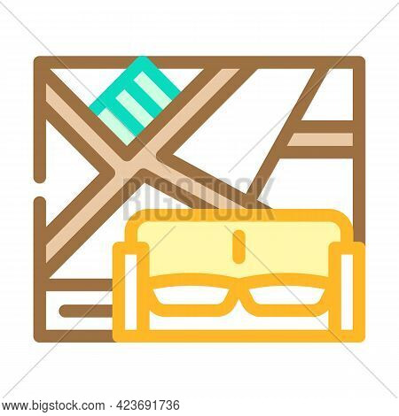 Wall With Slanting Shelves Color Icon Vector. Wall With Slanting Shelves Sign. Isolated Symbol Illus