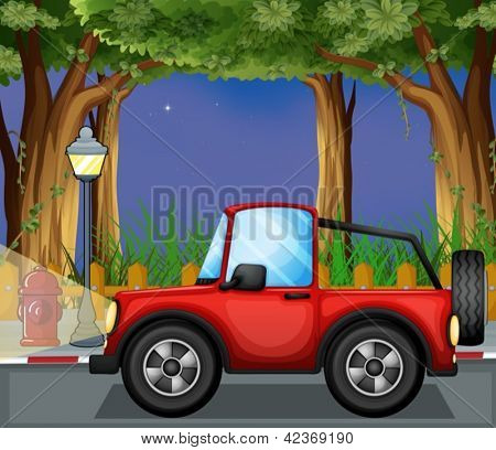 Illustration of a red jeepney in the road