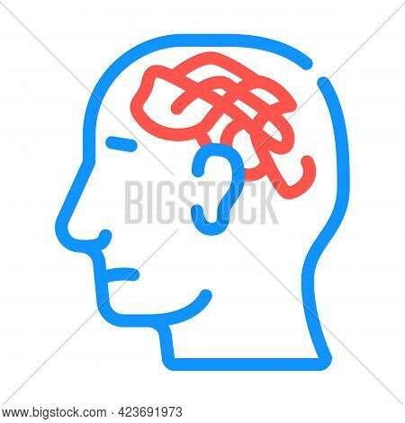 Confused Thoughts Color Icon Vector. Confused Thoughts Sign. Isolated Symbol Illustration