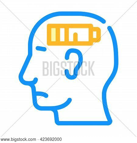 Lack Of Strength Neurosis, Low Battery Color Icon Vector. Lack Of Strength Neurosis, Low Battery Sig