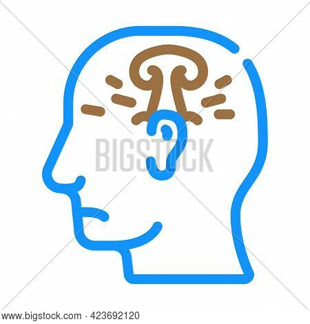Post War Stress Or Explosion Neurosis Color Icon Vector. Post War Stress Or Explosion Neurosis Sign.